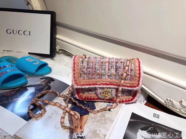 包包批发市场cf 毛呢编织包 粉色系  时髦娇嫩美丽 25cm