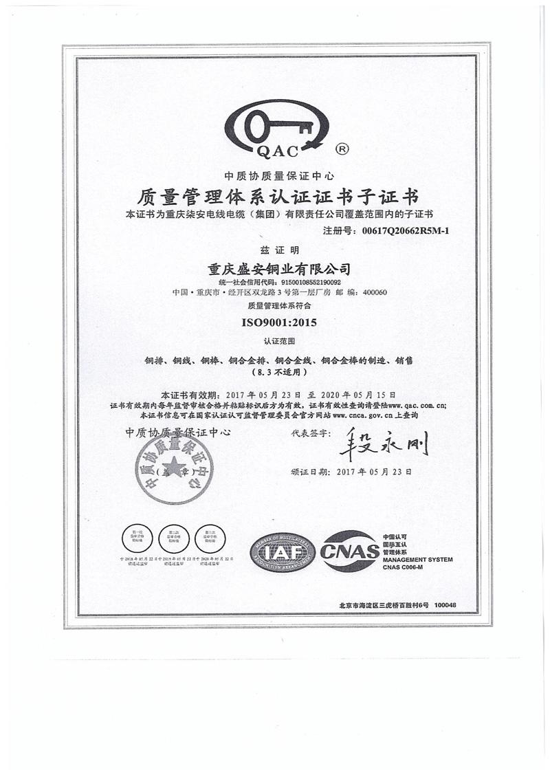 质量管理体系认证证书-盛安