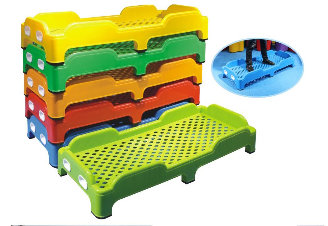 注塑床幼儿园广西南宁厂家直销午睡床午托叠叠床全塑料