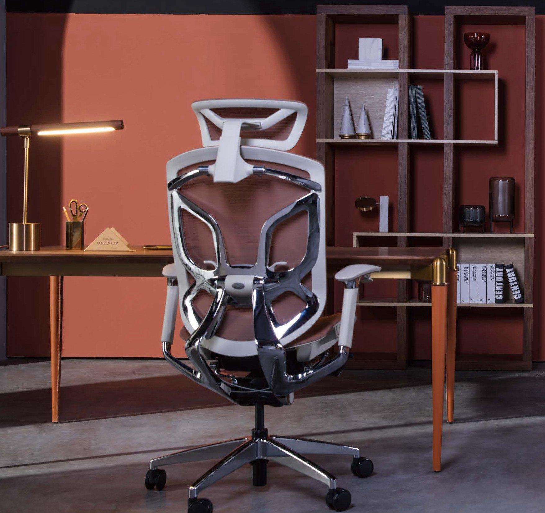 创意蝴蝶椅杜邦尼龙网布大班椅铝合金架升降倾仰布面书桌椅