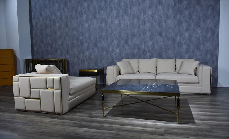 贵宾室接待沙发不锈钢架钛金装饰沙发欧式五金沙发
