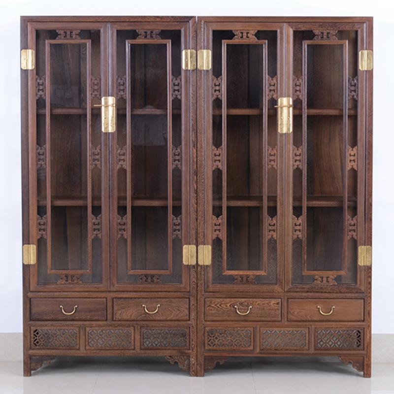 雞翅木書柜書架 3層組合簡易書櫥